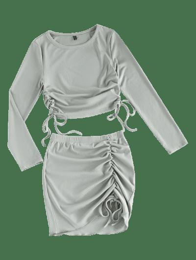 ZAFUL Rib-knit Cinched Two Piece Dress