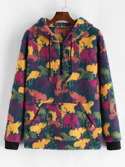 Camouflage Print Faux Fur Half Zipper Drawstring Hoodie - Multi S