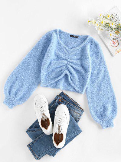 ZAFUL Fuzzy Ruched Lantern Sleeve Sweater - Light Blue S