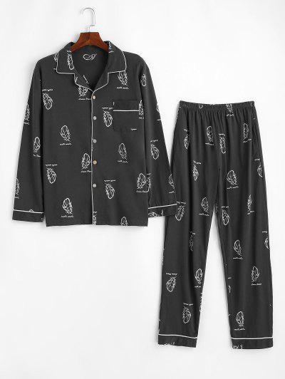 Leaf Letter Print Pocket Patch Pajama Set - Dark Gray L