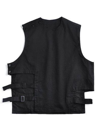 Snap Button Solid Hip-hop Streetwear Pullover Vest - Black L