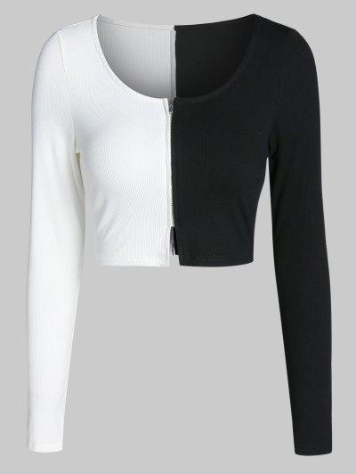 ZAFUL Colorblock Zip Up Cropped T Shirt - Black S