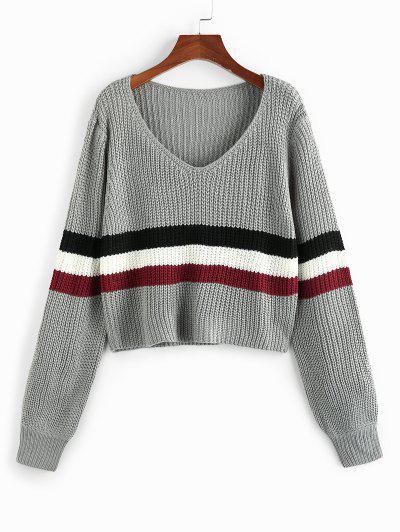 ZAFUL Wide Striped V Neck Jumper Sweater - Light Gray L