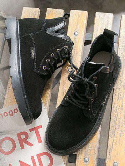 Lace Up V Notch Gleznă Boots - Negru Ue 37