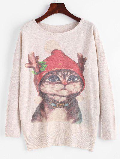 Heathered Christmas Cat Graphic Sweater - Light Coffee