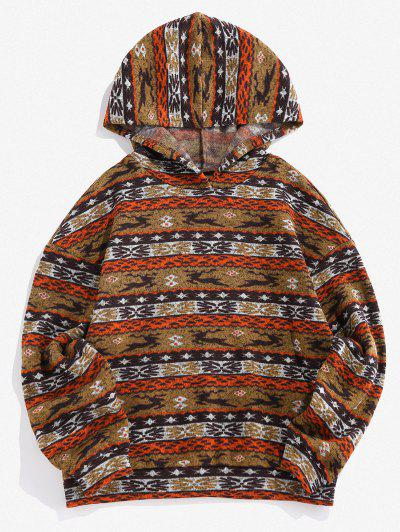ZAFUL Christmas Elk Geo Fleece Jersey Hoodie - Coffee M
