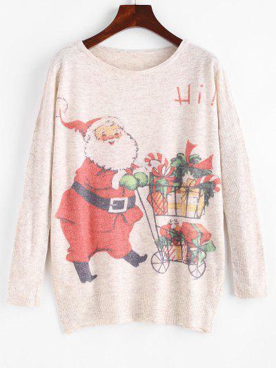 Heathered Gifts Santa Claus Christmas Sweater - Light Coffee
