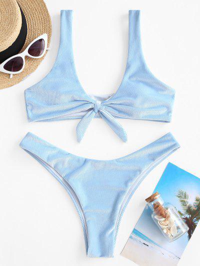 ZAFUL Ribbed Velvet Knot Bikini Swimwear - Light Blue S