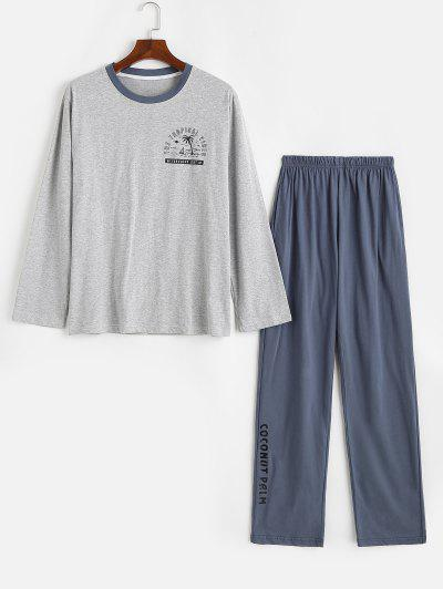 Tropical Vibes Coconut Palm Pattern Pajama Set - Light Gray Xs