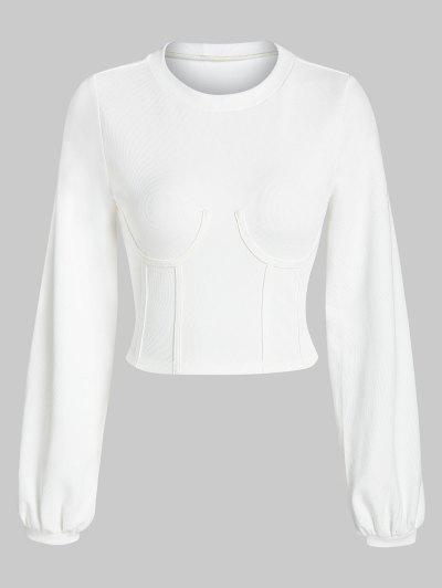 ZAFUL Underbust Crop Corset Sweatshirt - Milk White L