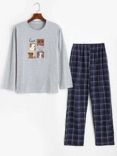 Dog Love Party Time Pattern Pajama Set - Light Gray S