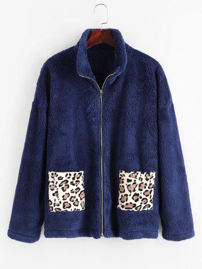 Dual Pocket Leopard Panel Fluffy Coat - Deep Blue S