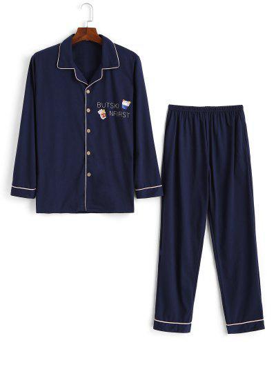Cartoon Animal Letter Pattern Pajama Set - Cadetblue S