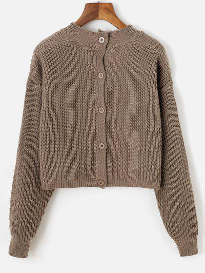 Button Up Back V Neck Cropped Sweater - Deep Coffee