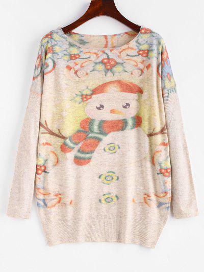 Heathered Snowman Graphic Christmas Sweater - Light Coffee