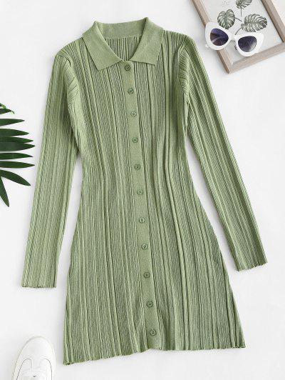 Button Up Ribbed Bodycon Sweater Dress - Green Onion S
