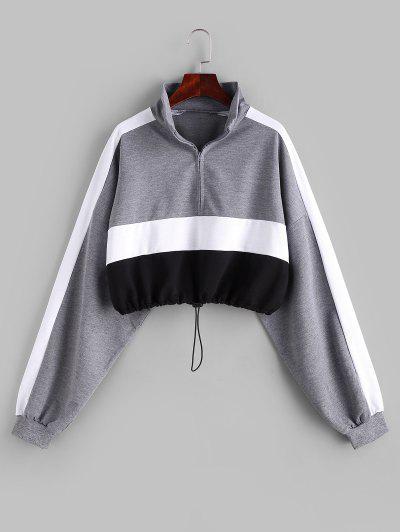 Colorblock Half Zip Toggle Drawstring Sweatshirt - Multi L