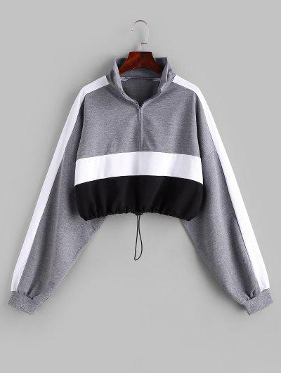 Colorblock Half Zip Toggle Drawstring Sweatshirt - Multi S