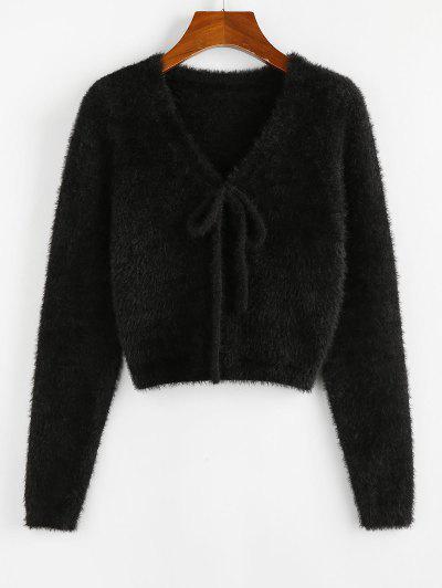 ZAFUL Fuzzy Bowknot V Neck Jumper Sweater - Black M
