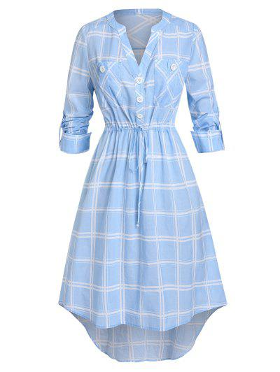 Plus Size Plaid Drawstring Rolled Up Sleeve V Notch Dress - Sea Blue 5x