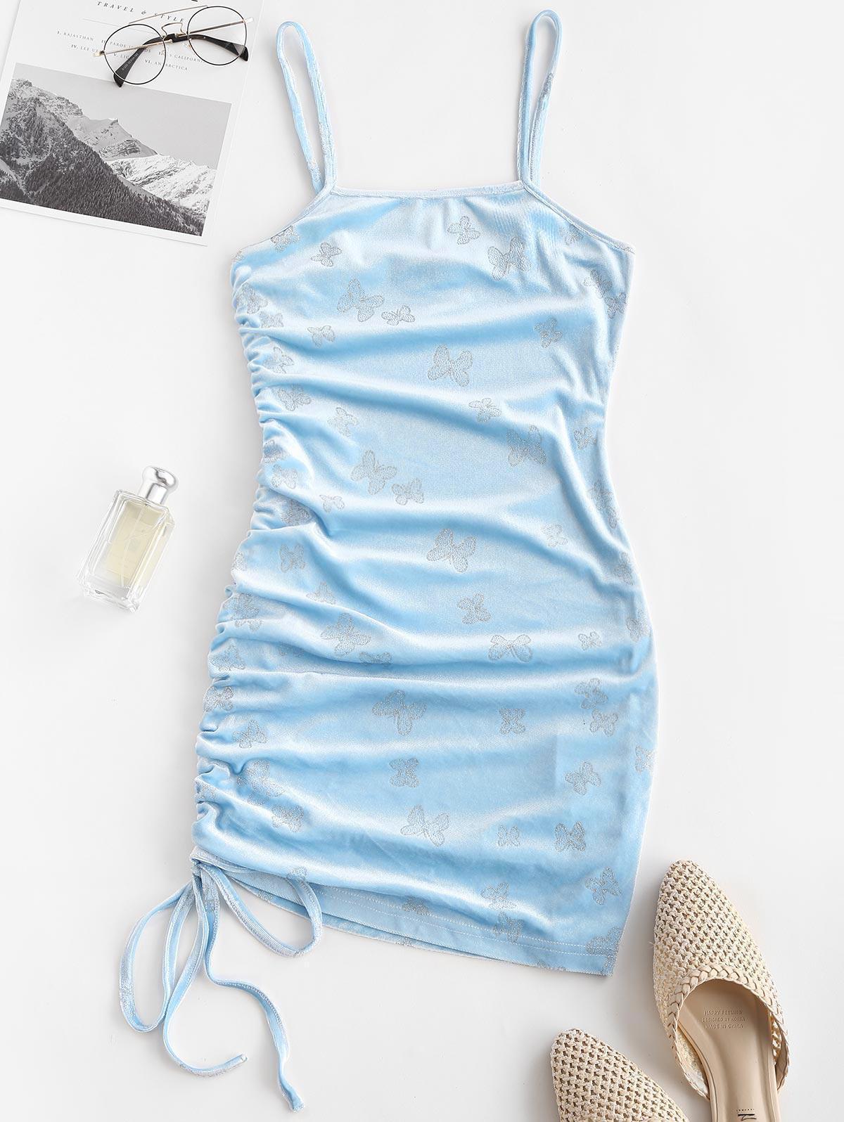 ZAFUL Sparkly Butterfly Velvet Cinched Mini Dress