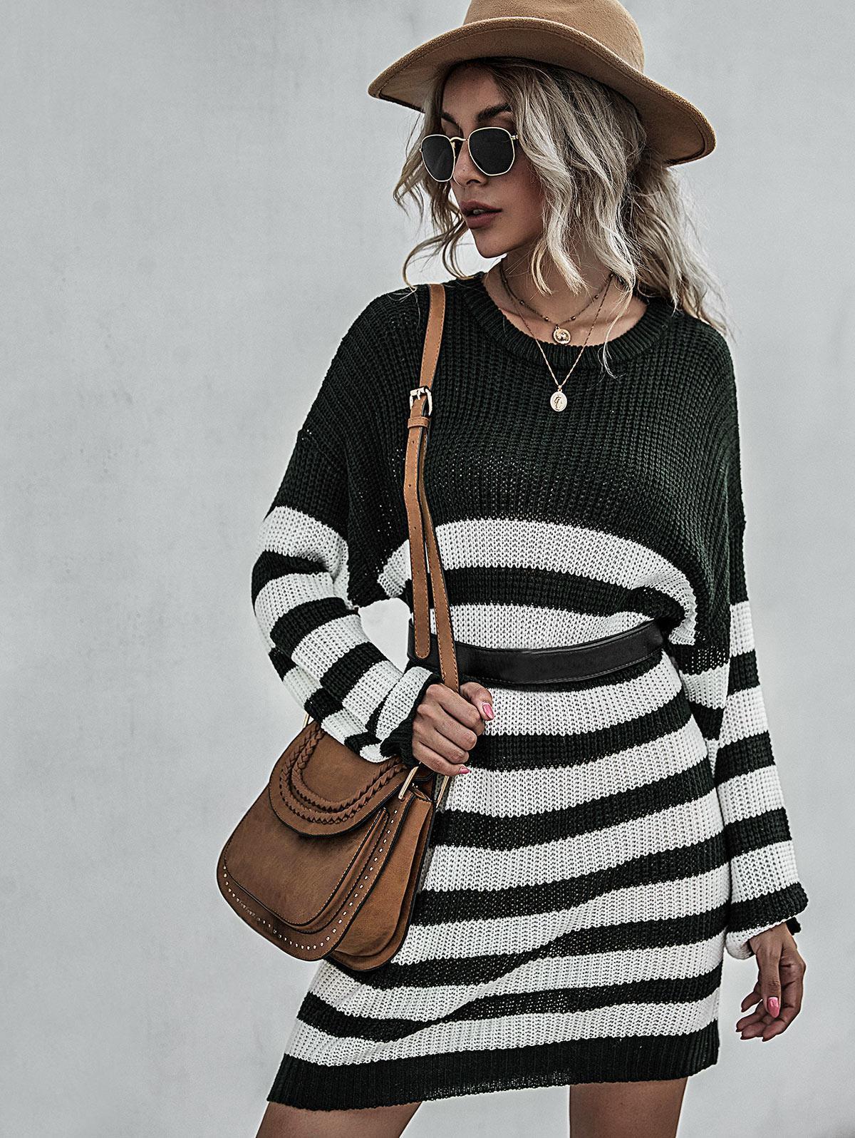 Stripe Drop Shoulder Mini Sweater Dress