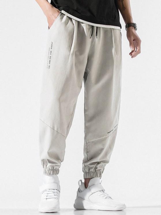 Pantalones Jogger con Cordón y Estampado de Letras - Gris Claro L