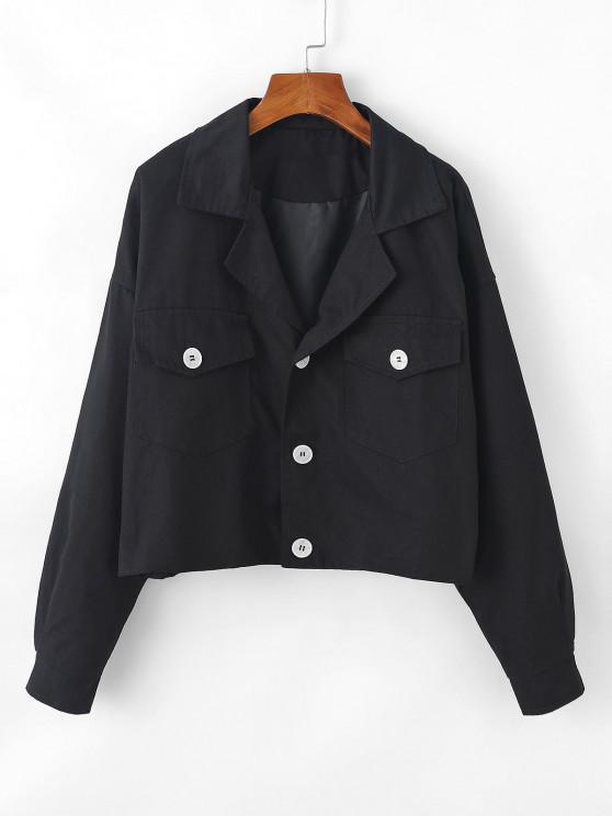womens Flap Pocket Drop Shoulder Lapel Jacket - BLACK S