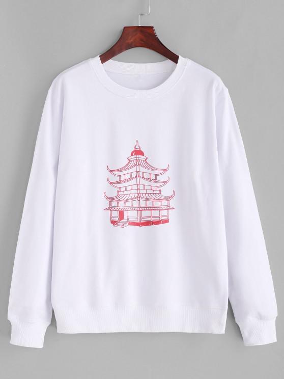 Cotton Temple Graphic Basic Rib Hem Sweatshirt - أبيض M