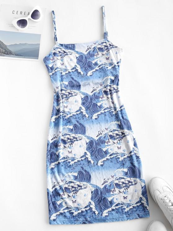 Mini Vestido Terciopelo Estampado Mariposa - Azul M