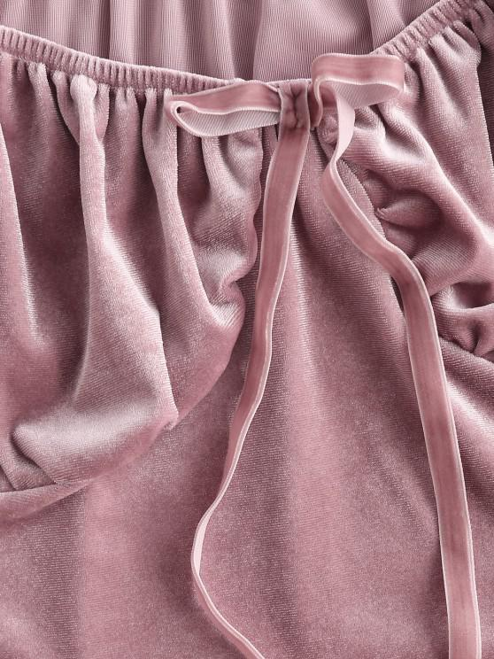Puff Sleeve Velvet Ruched Milkmaid Top - Light Pink S | ZAFUL