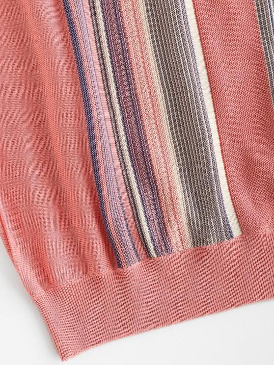 Striped V Neck Knit Sweater Vest - Light Pink   ZAFUL