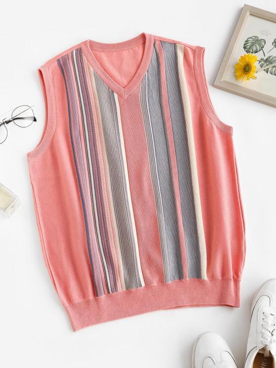 Camisola de Colete de Malha Listrada Colar V - Luz rosa Um Tamanho
