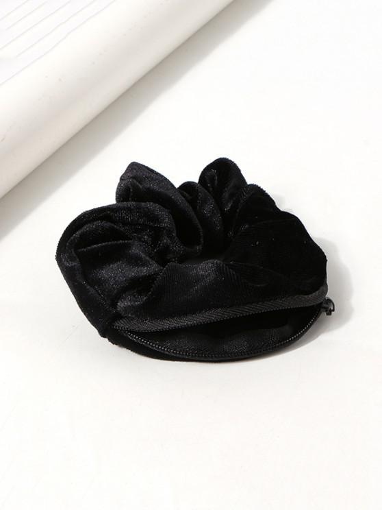Velour Fabric Zipper Opening Scrunchie - أسود