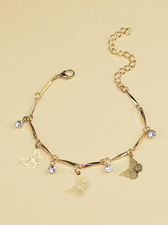lady Butterfly Rhinestone Hollow Charm Bracelet - GOLDEN