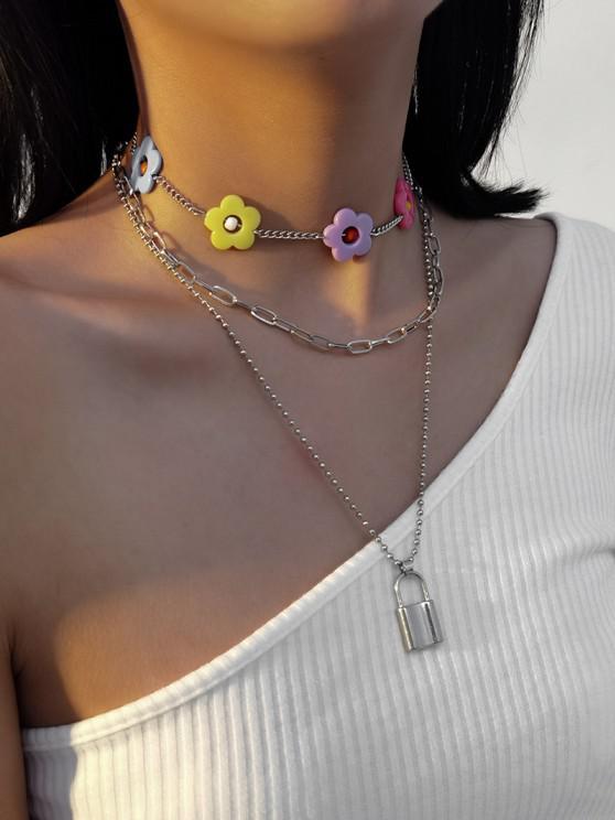 3Pcs Flower Lock Pendant Necklace Set - فضة