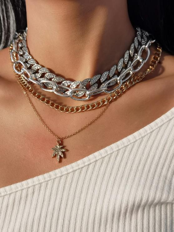 4Pcs Rhinestone Chain Maple Leaf Necklace Set - متعددة-A