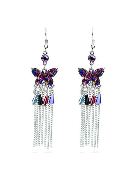 trendy Butterfly Colored Rhinestone Fringe Earrings - SILVER