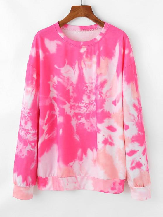 outfit Pullover Tie Dye Sweatshirt - ROSE RED M