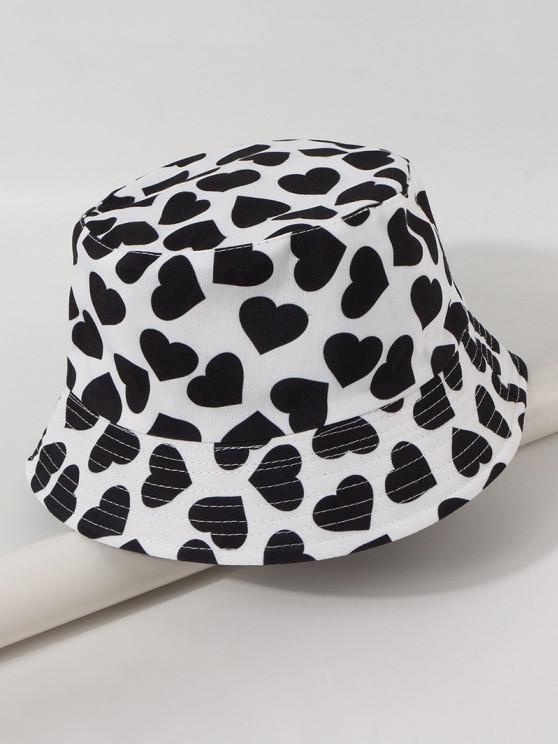 trendy Reversible Heart Printed Bucket Hat - WHITE