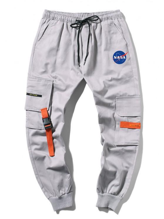 Pantalones de Carga con Estampado de Letras y Bolsillo de Hebilla - Gris M