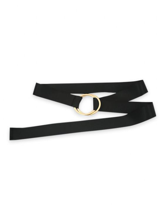 shop Minimalist Double Rings Wide Belt - BLACK