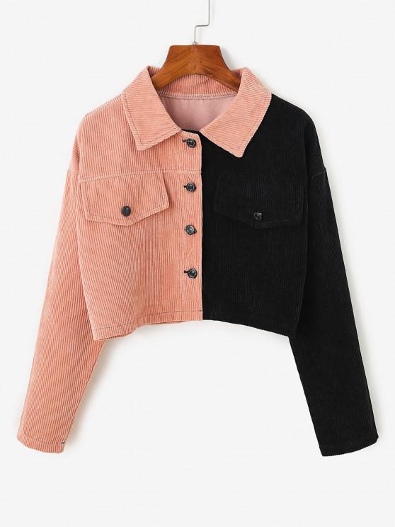 women's Two Tone Drop Shoulder Corduroy Crop Jacket - LIGHT PINK M