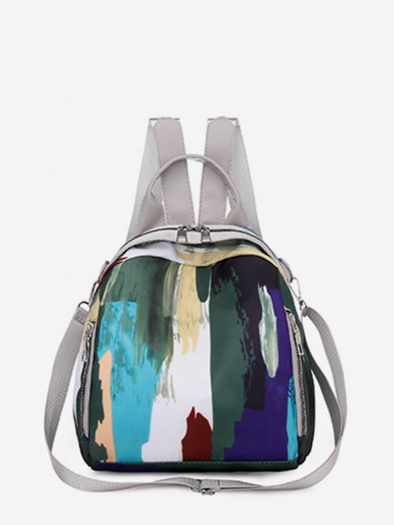 buy Colorblock Painting Pattern Backpack - LIGHT GRAY
