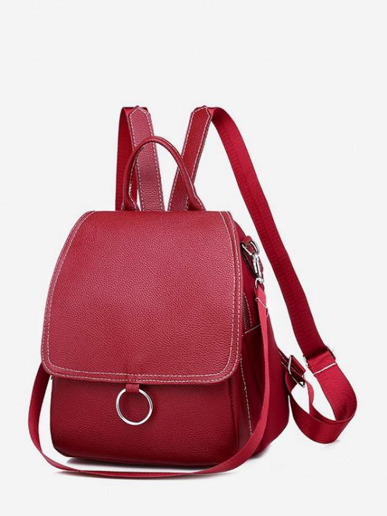women's Cover O Ring Small Backpack - DEEP RED