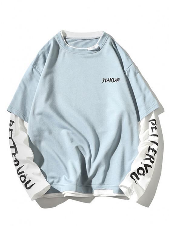 Letter Print Faux Twinset Sweatshirt - السماء الزرقاء 2XL