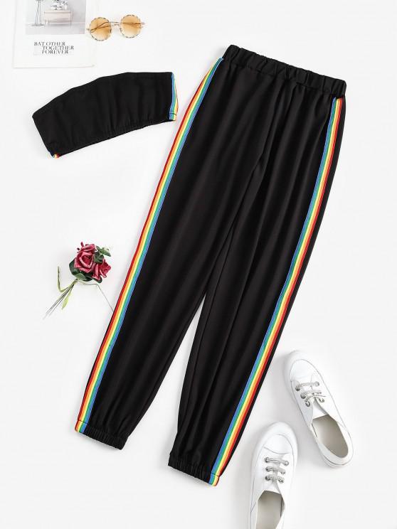 online Stripes Rainbow Two Piece Bandeau Top Set - BLACK S