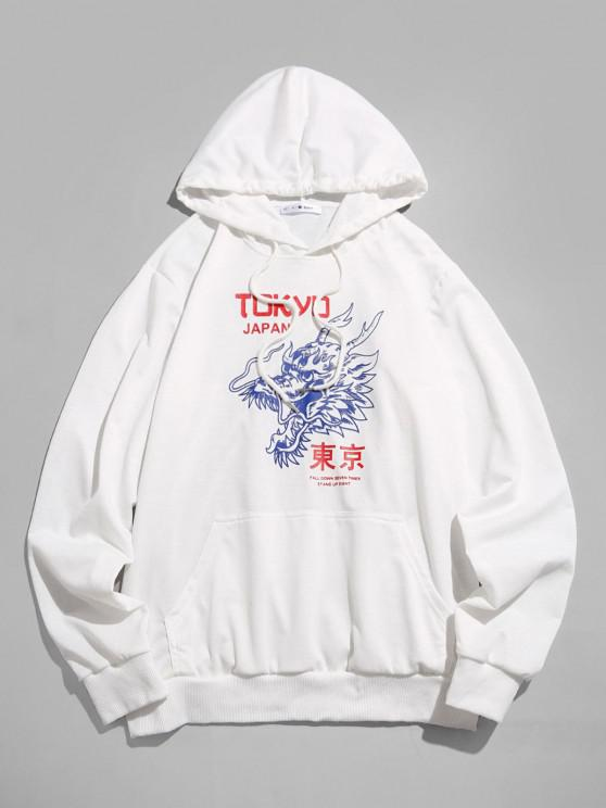 ZAFUL Tokyo Japan Dragon Pattern Hoodie - أبيض S