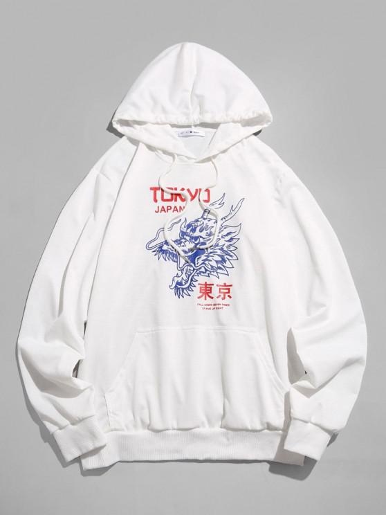 latest ZAFUL Tokyo Japan Dragon Pattern Hoodie - WHITE 2XL