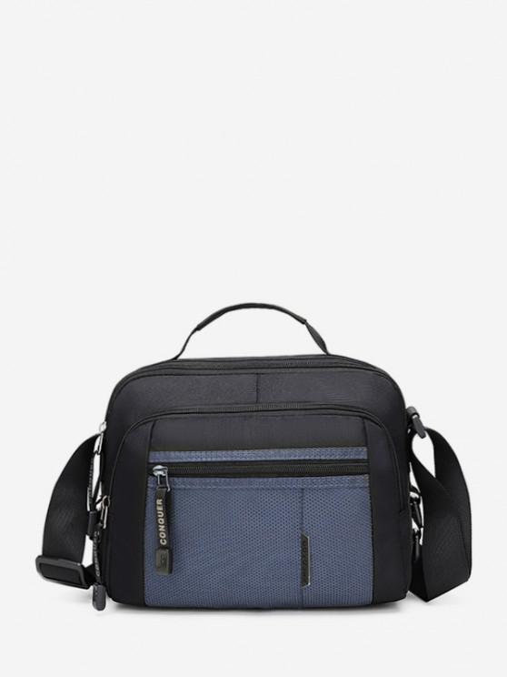 Contrast Color Canvas Crossbody Bag - الطاووس الأزرق